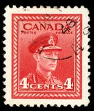 Stamp printed in Canada shows King George VI Royalty Free Stock Images
