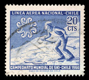 Stamp printed in Chile from the `World Skiing Championships - Chile 1966` issue shows Skier crossing slope. A stamp printed in Chile from the `World Skiing Royalty Free Stock Images