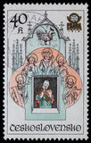 Stamp printed in Czechoslovakia shows Prague Astronomical Clock or Prague Orloj. Circa 1978 royalty free stock photos