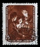 Stamp printed in DDR shows the painting Old woman with a brazier, by Peter Paul Rubens Royalty Free Stock Images