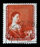Stamp printed in DDR shows the painting Portrait of Mademoiselle Lavergne, by Jean Etienne Liotard. A stamp printed in DDR shows the painting Portrait of Stock Photo