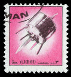 Stamp printed in emirate Ajman show spaceship Royalty Free Stock Images