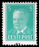 Stamp printed in Estonia shows first president Konstantin Pats Stock Images