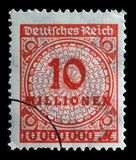Stamp printed in the Federal Republic of Germany shows image of hyper inflated numbers. A stamp printed in the Federal Republic of Germany shows image of hyper Stock Photo