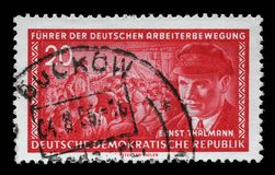 Stamp printed in GDR shows Ernst Telman. A stamp printed in GDR East Germany shows Ernst Telman 1886-1944, leader of the Communist Party of Germany, circa 1955 Royalty Free Stock Photography