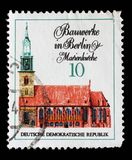 Stamp printed in GDR from the Famous Buildings in Berlin issue shows Marienkirche. A stamp printed in GDR from the Famous Buildings in Berlin issue shows Stock Photos