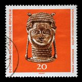Stamp printed in GDR shows bronze head from Africa, The Ethnography Museum of Leipzig. A stamp printed in GDR shows bronze head from Africa, The Ethnography Stock Photos