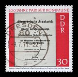 Stamp printed in GDR shows Centenary of the Paris Commune Royalty Free Stock Image