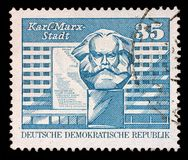 Stamp printed in GDR shows image of Chemnitz known from 1953 to 1990 as Karl-Marx-Stadt Royalty Free Stock Photo