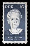Stamp printed by GDR , shows Marie Sklodowska Curie. A stamp printed by GDR , shows Marie Sklodowska Curie, circa 1967 stock photos