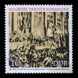 Stamp printed in GDR shows Proclamation of the Commune Royalty Free Stock Photos