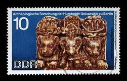 Stamp printed in GDR shows Sudanese Archaeological Excavations by Humboldt University Expedition. A stamp printed in GDR shows Sudanese Archaeological stock images
