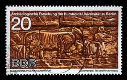 Stamp printed in GDR shows Sudanese Archaeological Excavations by Humboldt University Expedition. A stamp printed in GDR shows Sudanese Archaeological royalty free stock photos
