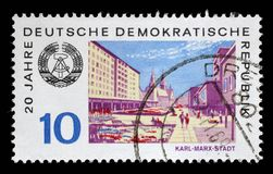 Stamp printed in GDR shows View of Karl Marx Stadt Royalty Free Stock Photo