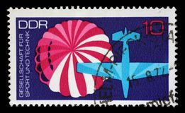 Stamp printed in GDR from the Society for Sport and Technology Stock Photos