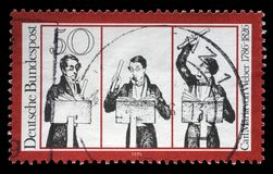 Stamp printed in German Democratic Republic honoring Carl Maria von Weber, shows musicians, Royalty Free Stock Photos