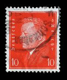 Stamp printed in the German Reich shows Friedrich Ebert. A stamp printed in the German Reich shows Friedrich Ebert 1871-1925, 1st President of the German Reich Royalty Free Stock Photos