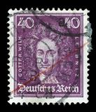 Stamp printed in the German Reich shows Gottfried Wilhelm von Leibniz. A stamp printed in the German Reich shows Gottfried Wilhelm von Leibniz, polymath Royalty Free Stock Photography