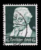 Stamp printed in the German Reich shows Heinrich Schutz. A stamp printed in the German Reich shows Heinrich Schutz 1585-1672, composer, circa 1935 Royalty Free Stock Photography