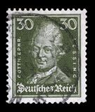 Stamp printed in the German Reich shows image of Gotthold Ephraim Lessing. A stamp printed in the German Reich shows image of Gotthold Ephraim Lessing, the Royalty Free Stock Photo