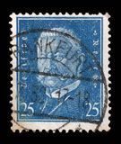 Stamp printed in the German Reich shows Paul von Hindenburg. A stamp printed in the German Reich shows Paul von Hindenburg 1847-1934, 2nd President of the German Royalty Free Stock Photos