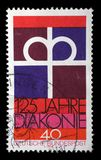 Stamp printed in the Germany dedicated to 125th anniversary of the Diaconal Association of the German Protestant Church Stock Images