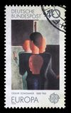 Stamp printed in Germany shows the abstract painting by Oskar Schlemmer Stock Image