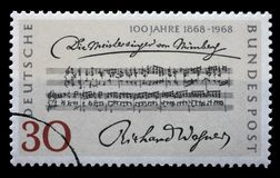 Stamp printed in the Germany shows Opening Bars, Die Meistersinger von Nurnberg, by Richard Wagner Royalty Free Stock Photography