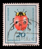 Stamp printed in Germany from the Useful Beetles issue shows two-spot ladybird beetle Royalty Free Stock Image