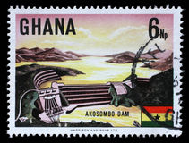 Stamp printed in Ghana shows Volta River dam and electric power station at Akosombo Royalty Free Stock Images