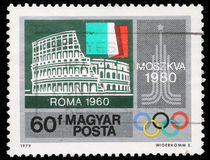 Stamp printed by Hungary, shows Colosseum, Rome, Italian flag, Moscow Emblem royalty free stock image