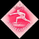 Stamp printed by Hungary, shows Fencing Royalty Free Stock Photos