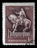 Stamp printed in Hungary shows Janos Hunyadi on Horseback. A stamp printed in Hungary shows Janos Hunyadi on Horseback, circa 1956 Stock Images