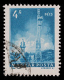 Stamp printed in Hungary shows Pecs TV Tower. A stamp printed in Hungary shows Pecs TV Tower, with the same inscription, from series Transport and Stock Photography