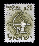 Stamp printed in the Israel, shows sign of the zodiac Sagittarius stock photos