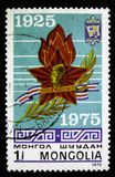 Stamp printed in Mongolia shows Russian Guards cruiser Krasnyi Kavkaz, circa 1975 Royalty Free Stock Photography