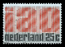 Stamp printed in Netherlands honoring 50th Anniversaryes of International Labour Organization Stock Image