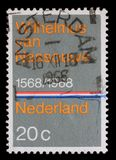 Stamp printed in the Netherlands issued for the 400th anniversary of Dutch National Anthem shows Wilhelmus van Nassouwe Stock Photography