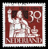 Stamp printed in the Netherlands shows Prince William Taking Oath of Allegiance Stock Photography