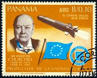 A stamp printed by Panama shows Sir Winston Churchill and rocket Blue streak stock photo
