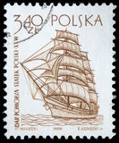 Stamp printed in Poland shows a vintage ship Stock Photography