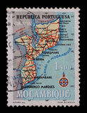 Stamp printed in Portugal shows map of Mocambique Royalty Free Stock Photo