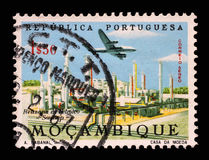 Stamp printed in Portugal shows Petroleum refinery Royalty Free Stock Photo