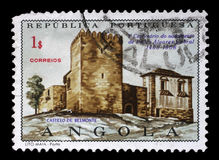 Stamp printed in the Portuguese Angola shows Belmonte Castle, Pedro Alvares Cabral Royalty Free Stock Photo