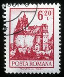 Stamp printed in Romania shows Bran Castle Royalty Free Stock Image
