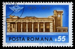 Stamp printed in Romania shows Bucharest North Station Centenary Royalty Free Stock Photo