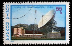 Stamp printed in Romania shows Cheia Telecommunications Station Stock Photos