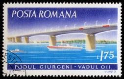Stamp printed in Romania shows Giurgeni Bridge, Vadul. A stamp printed in Romania shows Giurgeni Bridge, Vadul, circa 1972 stock image