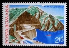 Stamp printed in Romania shows Hydrotechnic Stations Dams Vidraru. Circa 1978 stock photos
