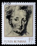 Stamp printed by Romania shows image self-portrait of famous French painter Jean Antoine Watteau Stock Photos
